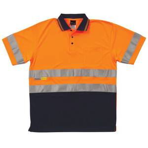 Hi Vis Traditional Polo Orange/Navy