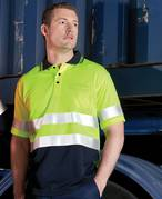 Hi Vis Traditional Polo Lime/Navy